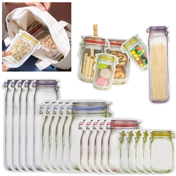 reusablebag, sealedpackingbag, Food, Jars