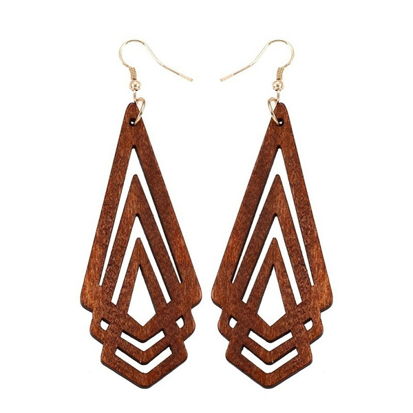 exaggeratedearring, Fashion, Triangles, woodenearring