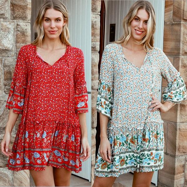 Summer, fashion women, printeddres, boho