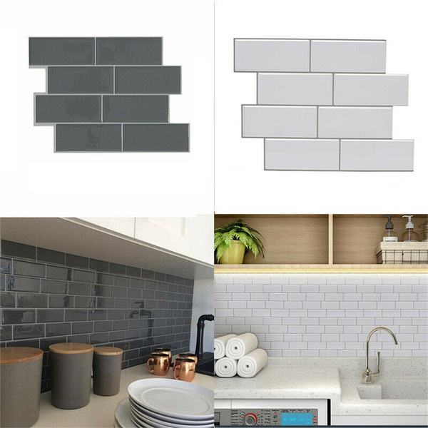 Waterproof Removable 3d Self Adhesive Subway Tile Kitchen Bathroom Wallpaper Decal Peel And Stick Wall Sticker Wish
