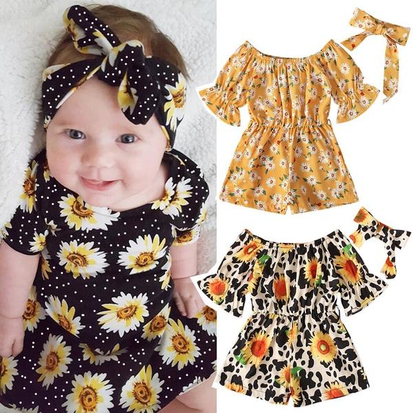 Summer, babygirlsunflowerclothesoutfitset, Sleeve, rufflesleeve