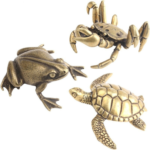 Vintage Brass Crab Frog Sea Turtle Statue Ornaments Copper Aquatic Animals Figurines Home Desk Decorations Accessories Tea Pets Wish