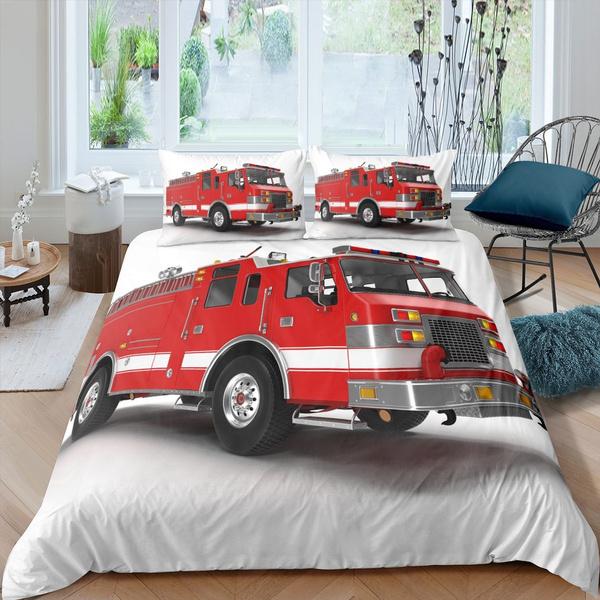 Fire Truck Duvet Cover Set, Twin Fire Truck Bedding