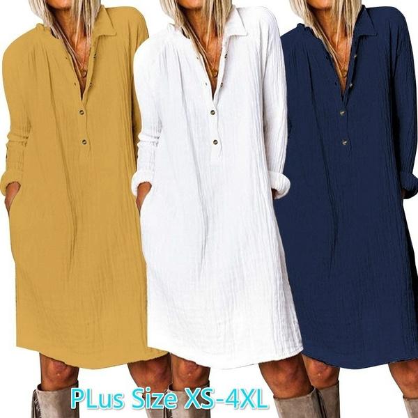 casuallongdre, Plus Size, Long Sleeve, Dress