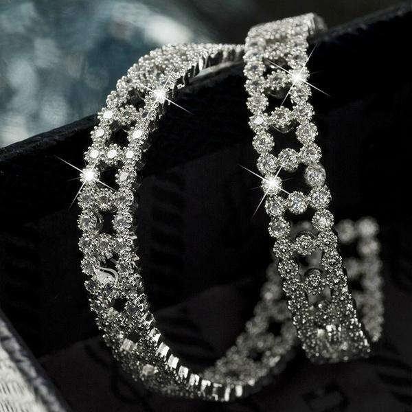DIAMOND, gold, wedding earrings, engagementearring
