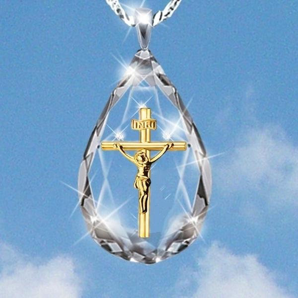 crystal pendant, DIAMOND, Cross necklace, Cross Pendant