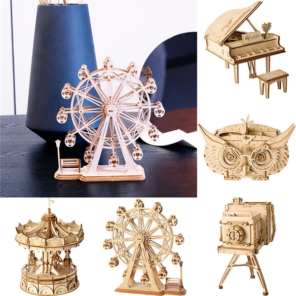 3D Wooden Puzzle Model Kit Building Assembly Toy Wood Arts For Kids Adults DIY