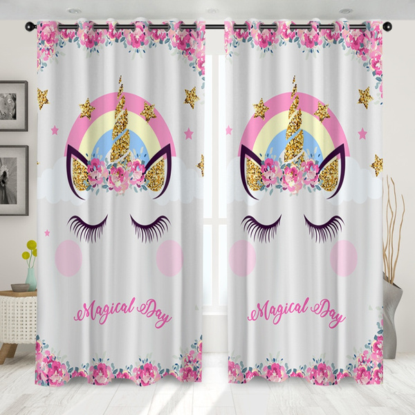 3d Unicorn Pattern Modern Blackout Curtains For Living Room Window Curtains For Bedroom Curtains Finished Drapes Blinds Tend Set Of 2 Panels Wish