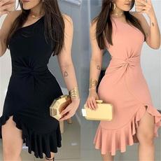 Fashion, irregulardres, Evening Dress, singleshoulder