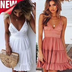 Summer, Fashion, halterpleatedskirt, Lace