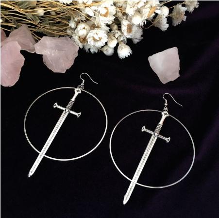 charmearring, Goth, dagger, Jewelry