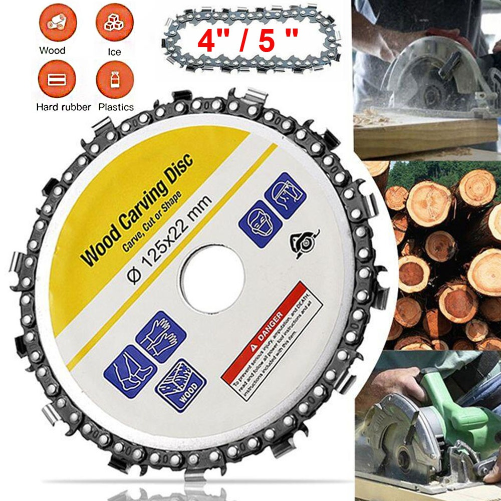 Juijnkt 4 Inch Wood Carving Disc and Chain 22 Tooth Grinder Disc Fine Chainsaw Set for 100//115 Angle Grinder Wooking Tools