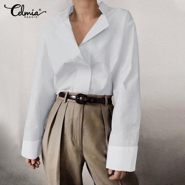 shirtsforwomen, Turn-down Collar, Plus Size, Long Sleeve