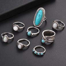 Sterling, adjustablering, Turquoise, Fashion
