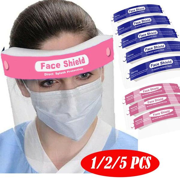 Safety Face Shield Full Protection Wide Visor Resistant Spitting Anti-Fog Lens