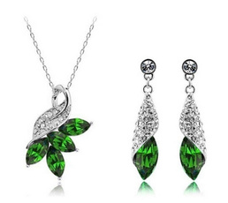 Sterling, Cubic Zirconia, Woman, pendantnecklaceearringsjewelryset