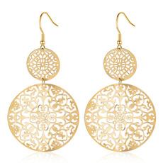 Dangle Earring, Jewelry, gold, hollowroundpendantearring
