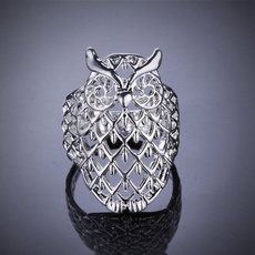 Owl, Fashion, usasize, Sterling Silver Ring