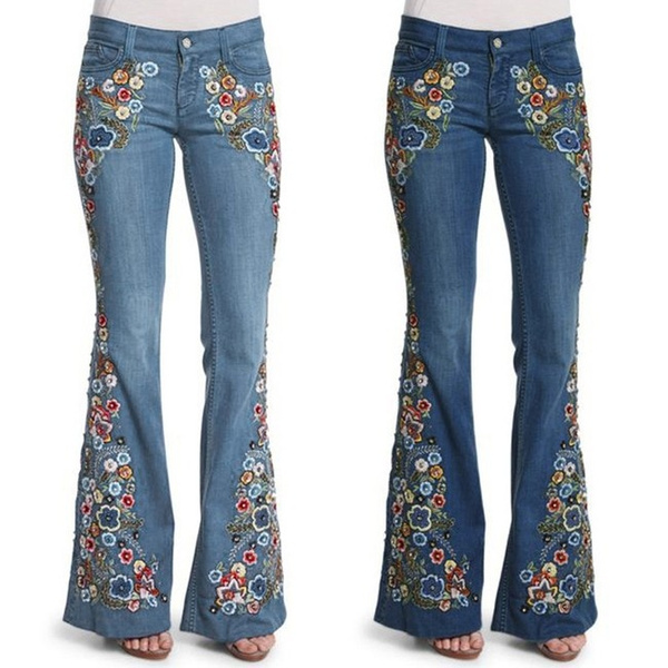 embroiderypant, Flowers, high waist, pants
