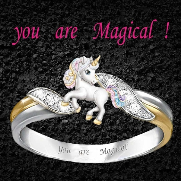 cute, Fashion, unicornring, 925 silver rings