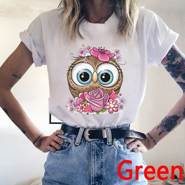 Summer, Plus Size, Owl, short sleeves