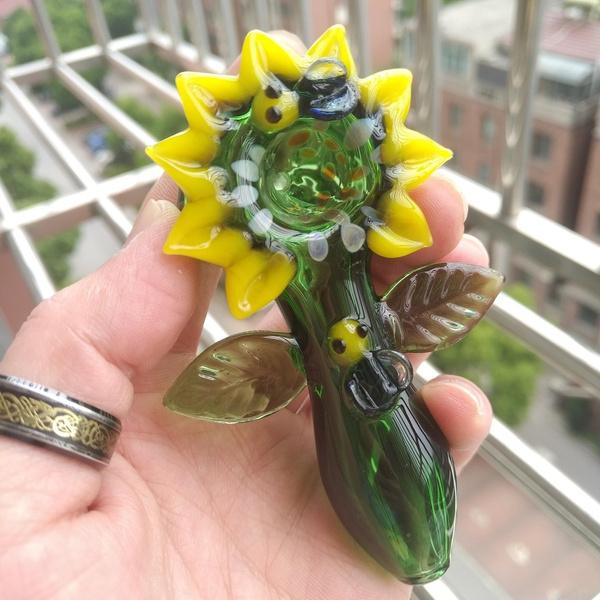 glasstobaccopipe, Sunflowers, glass pipe, glasssmokingpipe