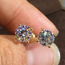 party, DIAMOND, moissanite earrings, gold