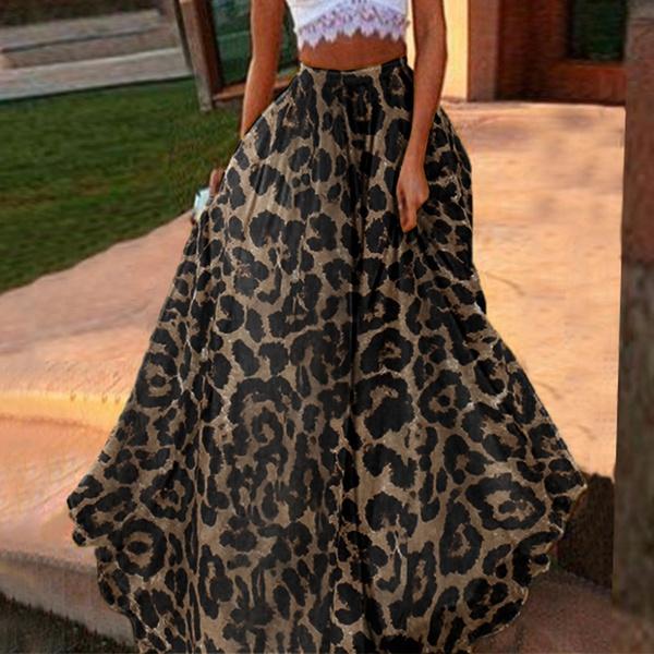 long skirt, Plus Size, leopard print, Pleated