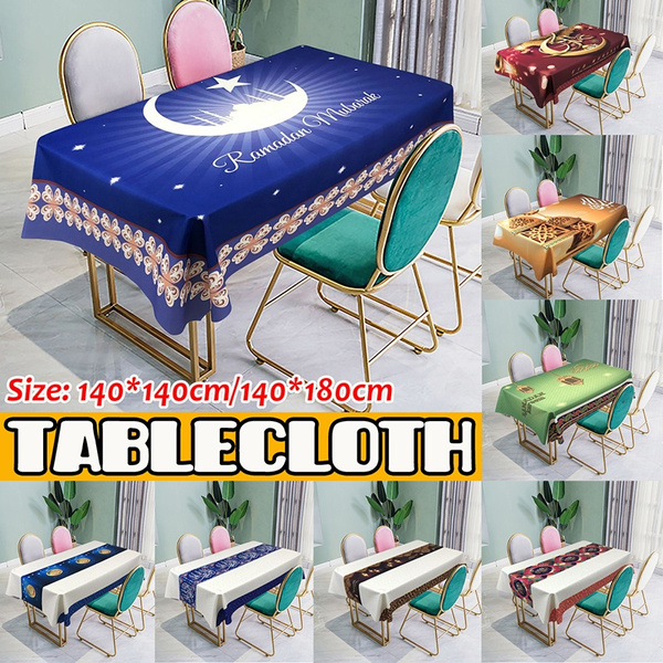 140 180cm 140 140cm Ramadan Kareem Tablecloth Muslim Dining Table Cloth Waterproof Islamic Eid Mubarak Cover Home Kitchen Decoration Wish