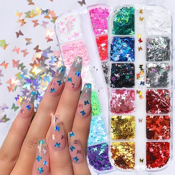 nail decoration, butterfly, nailbutterflyflake, Holographic