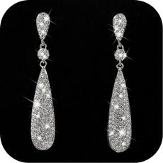 Sterling, Wedding, DIAMOND, Dangle Earring