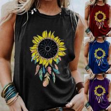 roundneckshirt, Plus Size, casualtanktopsforwomen, graphicprint