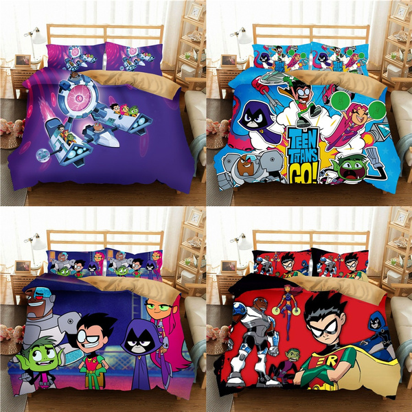Newest 3d Print Teen Titans Go 2 3 Pcs Bedding Set Children Room Decor Duvet Covers Pillowcases Bedclothes Wish