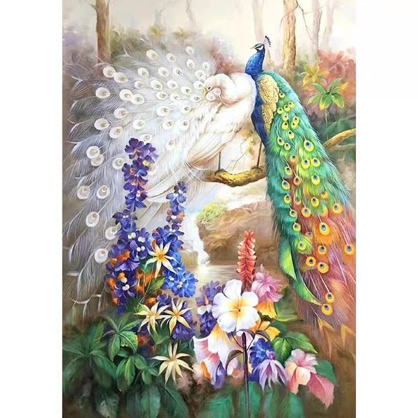 peacock, DIAMOND, Home Decor, wallhangingoilpainting