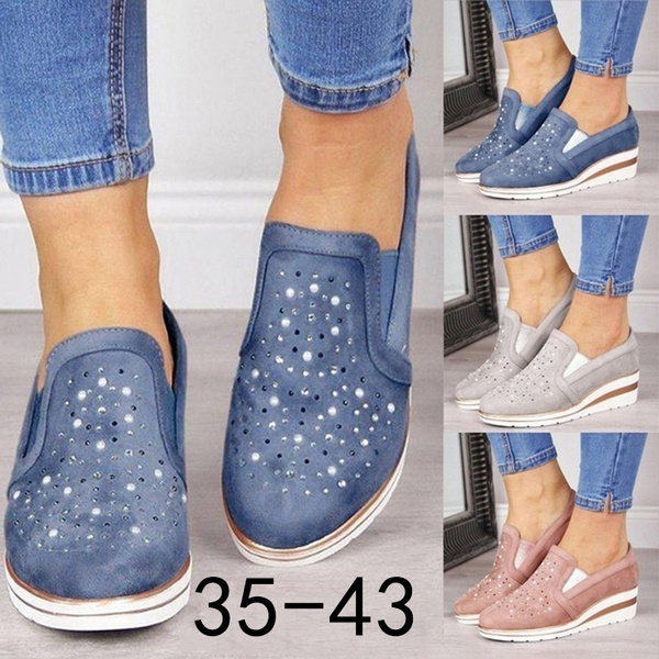 casual shoes, wedge, Sneakers, DIAMOND