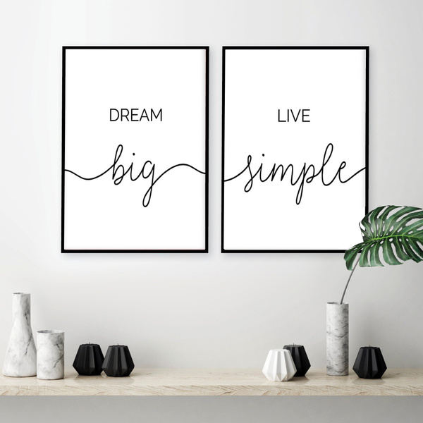 Minimalist Dream Big Live Simple Quote Canvas Paintings Black And White Bedroom Wall Art Prints Poster Pictures For Home Decor Wish