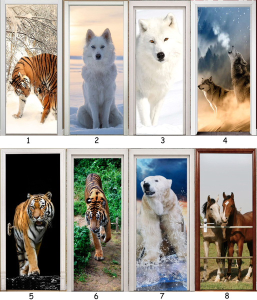 Tiger, horse, Door, Home Decor
