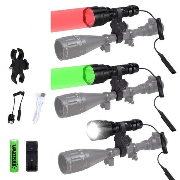 Flashlight, Rechargeable, led, redgreenhuntinglight