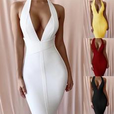 Sleeveless dress, dressesforwomen, Necks, Deep V-neck Dress