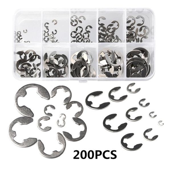 E-Clip Stainless Steel Assortment Kit 1.5 2 3 4 5 6 7 8 9 10 mm  200Pcs