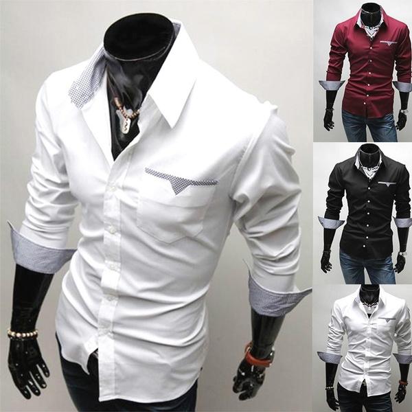 white shirt, casaulshirt, Long Sleeve, Office