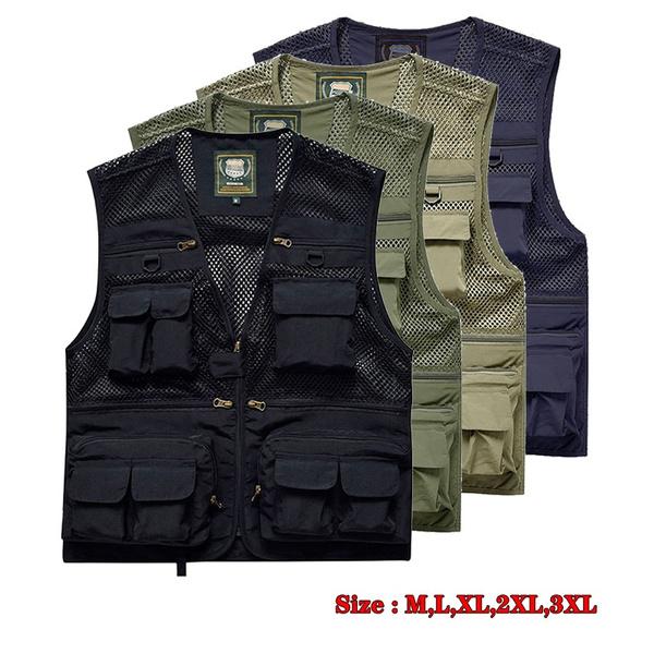Mens Mesh Army Camo Waistcoat Multi-Pocket Fishing Hunting Gilet Utility Vest