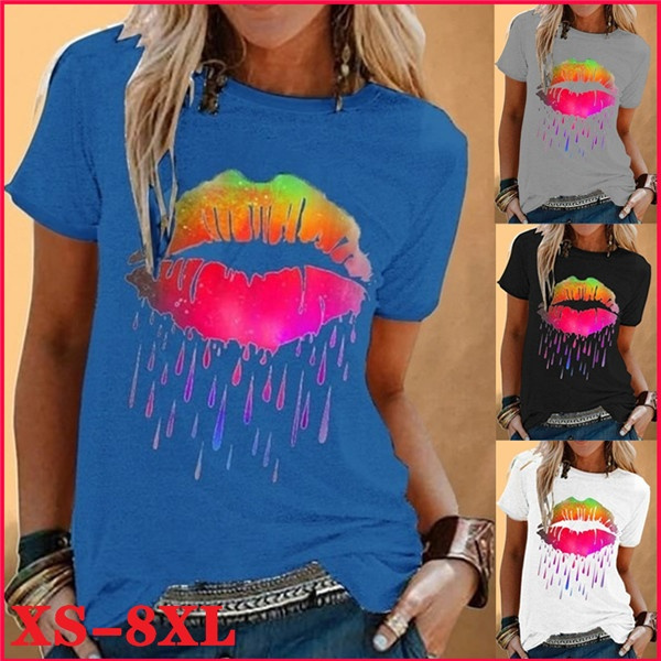 printedtop, Plus Size, Cotton T Shirt, Colorful