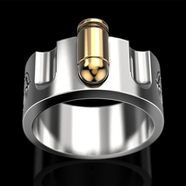 Punk Creative Russian Roulette Bullet Shaped Ring Two-color Plating Men's Ring