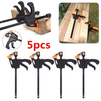 Size : 1pcs HXSD Gadget Tool DIY Adjustable Hand Wood Working Spreader 4 Inch Clip Kit Quick Ratchet Release F Clamp Speed Squeeze Work Bar Clamp
