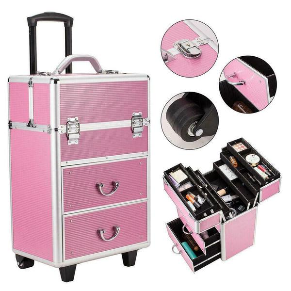 4 Tier Rolling Makeup Case Cosmetic