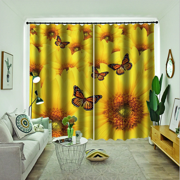 Scenery Window Curtains Sunflower Drapes Butterfly Decorative For Bedroom Livingroom Dorm Decor Wish