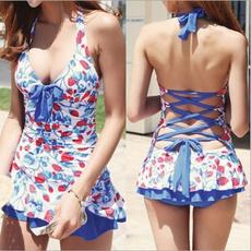 Plus Size, Swimwear, V-neck, Swimsuit