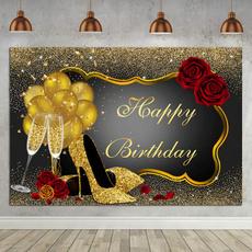 happybirthday, partybanner, gold, Fotografía