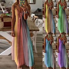 Summer, Plus Size, Print Dresses, Deep V-neck Dress